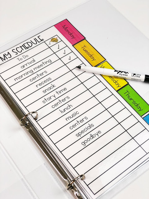 checklist visual schedule for students with special needs. checklist is laminated inside a 3 ring binder and can be checked off with a dry erase marker