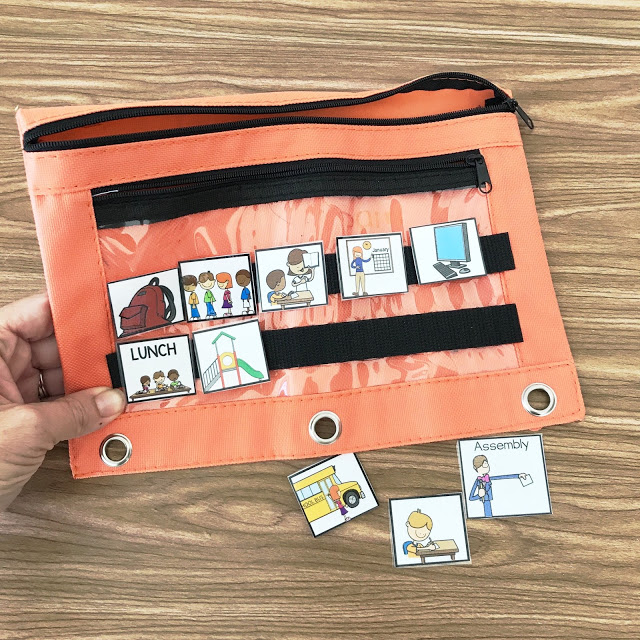 portable visual schedule that is attached to a supply pouch with velcro. visual schedule pieces are laminated and attached with velcro to outside of pouch.